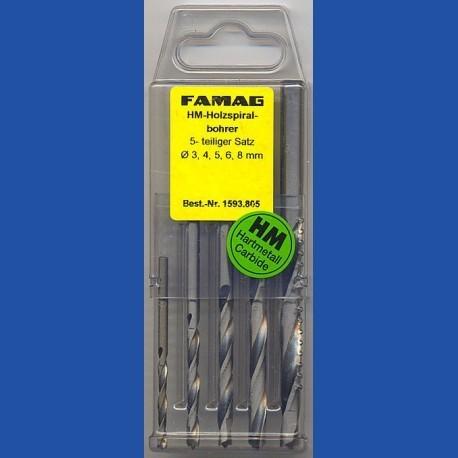 FAMAG Holzspiralbohrer HM-bestückt Standard-Set