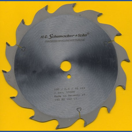 H.O. Schumacher+Sohn Hartmetallbestücktes Kreissägeblatt Standard Grobzahn – Ø 190 mm, Bohrung 16 mm