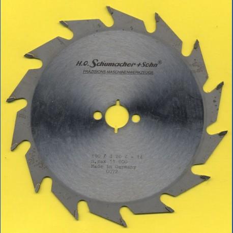 H.O. Schumacher+Sohn Hartmetallbestücktes Kreissägeblatt Standard Grobzahn – Ø 190 mm, Bohrung 20 mm