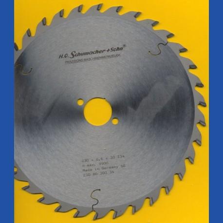 H.O. Schumacher+Sohn Hartmetallbestücktes Kreissägeblatt Standard Mittelzahn – Ø 230 mm, Bohrung 30 mm