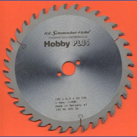 H.O. Schumacher+Sohn Hartmetallbestücktes Kreissägeblatt Hobby PLUS – Ø 190 mm, Bohrung 20 mm