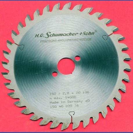 H.O. Schumacher+Sohn Hartmetallbestücktes Präzisions-Kreissägeblatt Feinzahn – Ø 150 mm, Bohrung 20 mm