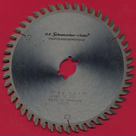 H.O. Schumacher+Sohn Hartmetallbestücktes Präzisions-Kreissägeblatt Feinstzahn – Ø 151 mm, Bohrung 19 mm (3/4'')