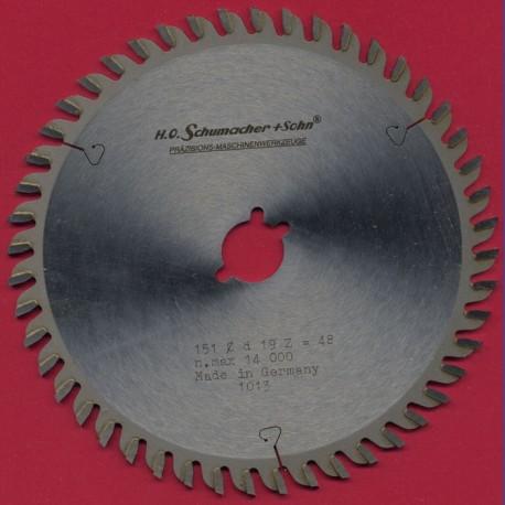 H.O. Schumacher+Sohn Hartmetallbestücktes Präzisions-Kreissägeblatt Feinstzahn extra stark – Ø 151 mm, Bohrung 19 mm (3/4'')