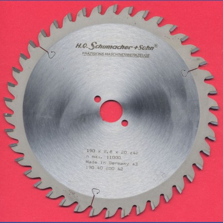 H.O. Schumacher+Sohn Hartmetallbestücktes Präzisions-Kreissägeblatt Feinzahn – Ø 190 mm, Bohrung 20 mm