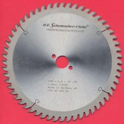 H.O. Schumacher+Sohn Hartmetallbestücktes Präzisions-Kreissägeblatt Feinstzahn – Ø 190 mm, Bohrung 20 mm