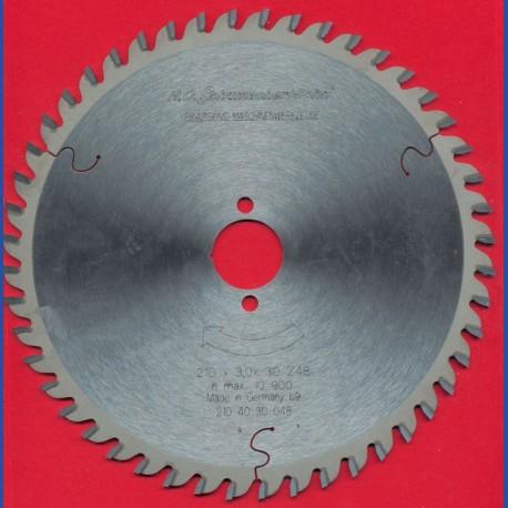 H.O. Schumacher+Sohn Hartmetallbestücktes Präzisions-Kreissägeblatt Feinzahn – Ø 210 mm, Bohrung 30 mm