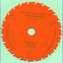H.O. Schumacher+Sohn Hartmetallbestücktes Kreissägeblatt AKKUfix Mittelzahn teflonbeschichtet – Ø 165 mm, Bohrung 20 mm