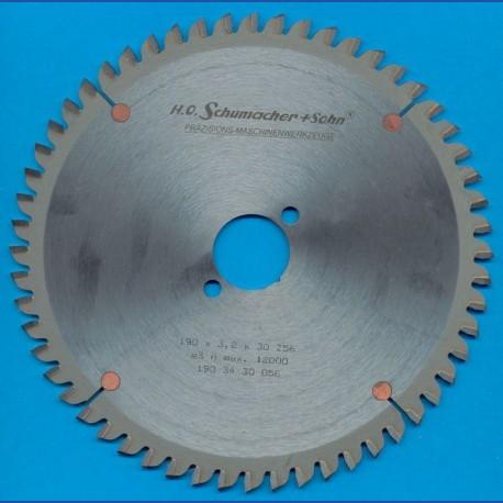 H.O. Schumacher+Sohn Hartmetallbestücktes Kreissägeblatt NE-negativ sehr fein – Ø 190 mm, Bohrung 30 mm