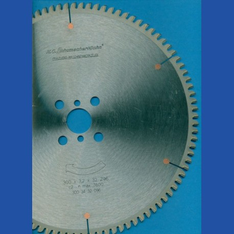 H.O. Schumacher+Sohn Hartmetallbestücktes Kreissägeblatt NE-negativ extra fein – Ø 300 mm, Bohrung 32 mm