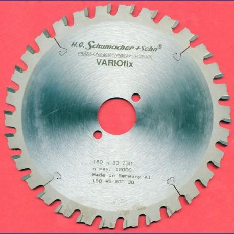 H.O. Schumacher+Sohn Hartmetallbestücktes Kreissägeblatt VARIOfix – Ø 180 mm, Bohrung 30 mm