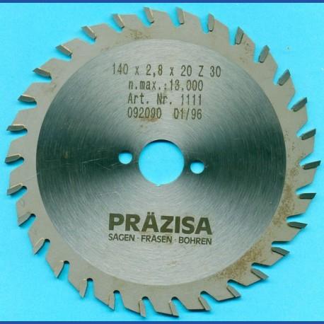 PRÄZISA Jännsch Hartmetall-Kreissägeblatt Type W Wechselzahn mittel – Ø 140 mm, Bohrung 20 mm