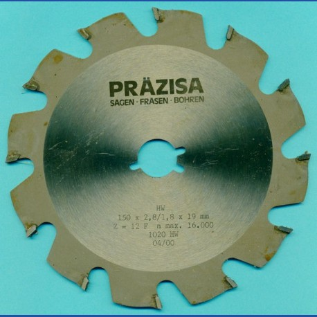 PRÄZISA Jännsch Hartmetall-Kreissägeblatt Type F Flachzahn grob – Ø 150 mm, Bohrung 19 mm (3/4'')