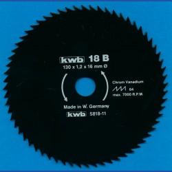 kwb Profilholzblatt Typ B Chrom Vanadium fein antihaftbeschichtet – Ø 130 mm, Bohrung 16 mm