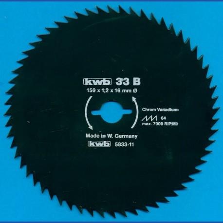 kwb Profilholzblatt Typ B Chrom Vanadium fein antihaftbeschichtet – Ø 150 mm, Bohrung 16 mm