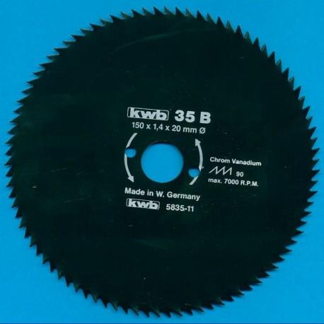kwb Profilholzblatt Typ B Chrom Vanadium fein antihaftbeschichtet – Ø 150 mm, Bohrung 20 mm
