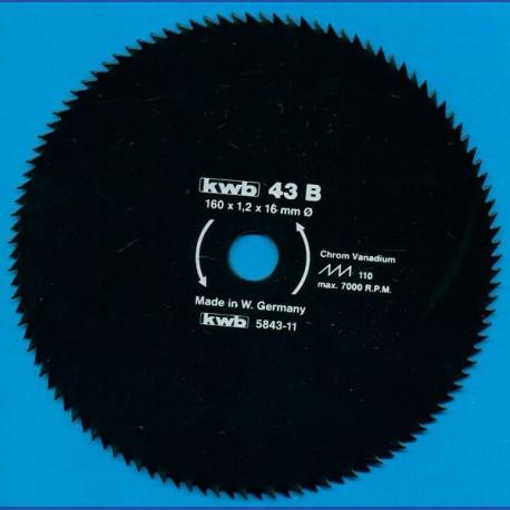 kwb Profilholzblatt Typ B Chrom Vanadium fein antihaftbeschichtet – Ø 160 mm, Bohrung 16 mm