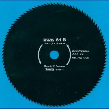 kwb Profilholzblatt Typ B Chrom Vanadium fein antihaftbeschichtet – Ø 184 mm, Bohrung 16 mm