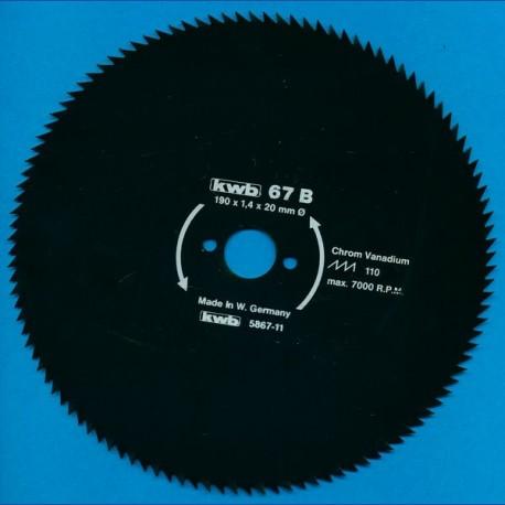 kwb Profilholzblatt Typ B Chrom Vanadium fein antihaftbeschichtet – Ø 190 mm, Bohrung 20 mm
