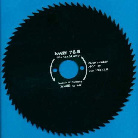 kwb Profilholzblatt Typ B Chrom Vanadium fein antihaftbeschichtet – Ø 210 mm, Bohrung 30 mm