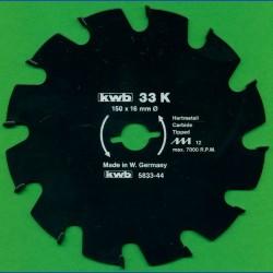 kwb Bauholzblatt Typ K Hartmetall Grobzahn antihaftbeschichtet – Ø 150 mm, Bohrung 16 mm