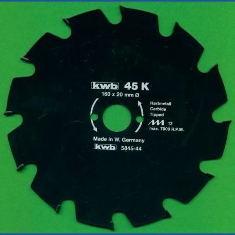 kwb Bauholzblatt Typ K Hartmetall Grobzahn antihaftbeschichtet – Ø 160 mm, Bohrung 20 mm