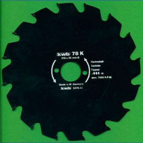 kwb Bauholzblatt Typ K Hartmetall Grobzahn antihaftbeschichtet – Ø 210 mm, Bohrung 30 mm