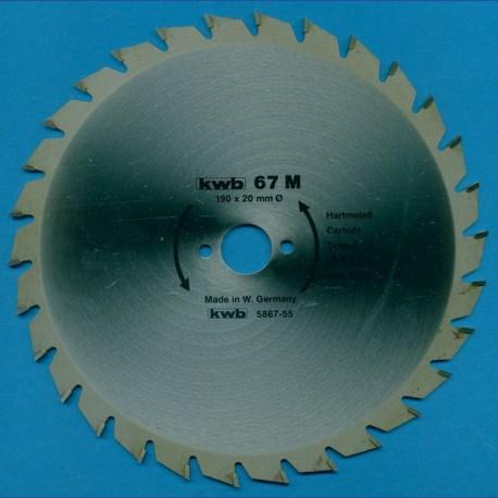 kwb Spanplattenblatt Typ M Hartmetall Normalzahn, Ø 190 mm, Bohrung 20 mm