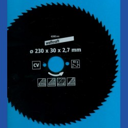 wolfcraft Serie blau Handkreissägeblatt CV mit Antihaft-Beschichtung, Ø 230 mm, Bohrung 30 mm