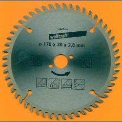 wolfcraft Serie orange Handkreissägeblatt HM Viel-Wechselzahn, Ø 170 mm, Bohrung 20 mm