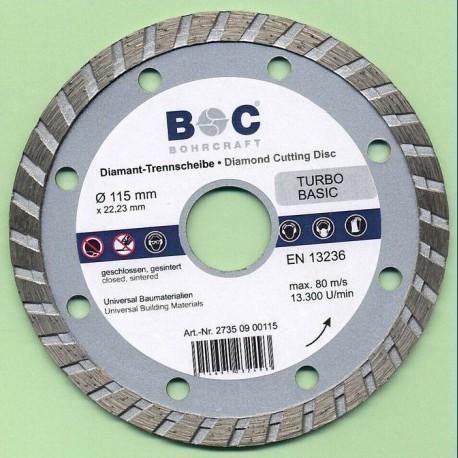 BOHRCRAFT Diamant-Trennscheibe TURBO BASIC Ø 115 mm