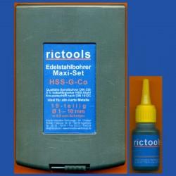 rictools Edelstahlbohrer HSS-G-Co Maxi-Set