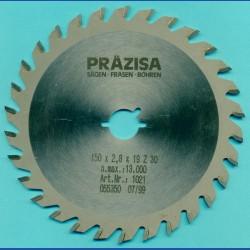 PRÄZISA Jännsch Hartmetall-Kreissägeblatt Type W Wechselzahn mittel, Ø 150 mm, Bohrung 19 mm (3/4'')