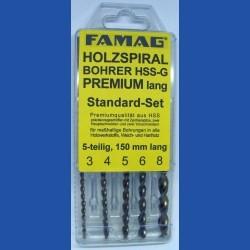 FAMAG Holzspiralbohrer HSS-G Premium lang Standard-Set