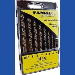 FAMAG Holzspiralbohrer HSS-G Premium Standard-Set – 5 Bohrer in Kunststoff-Kassette