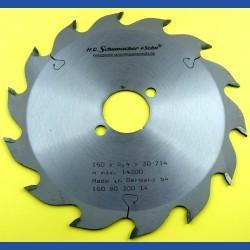 H.O. Schumacher+Sohn Hartmetallbestücktes Kreissägeblatt Standard Grobzahn – Ø 160 mm, Bohrung 30 mm