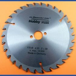 H.O. Schumacher+Sohn Hartmetallbestücktes Kreissägeblatt Hobby PLUS – Ø 170 mm, Bohrung 20 mm