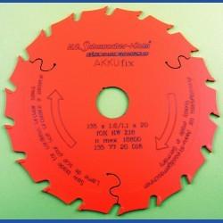 H.O. Schumacher+Sohn Hartmetallbestücktes Kreissägeblatt AKKUfix Mittelzahn teflonbeschichtet – Ø 135 mm, Bohrung 20 mm