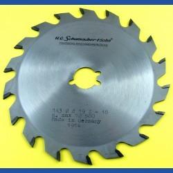 H.O. Schumacher+Sohn Hartmetallbestücktes Kreissägeblatt Standard Mittelzahn – Ø 143 mm, Bohrung 19 mm (3/4'')