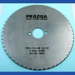 PRÄZISA Jännsch Chrom-Vanadium Kreissägeblatt Type B Feinzahn – Ø 190 mm, Bohrung 30 mm