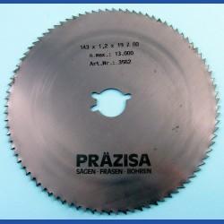 PRÄZISA Jännsch Chrom-Vanadium Kreissägeblatt Type B Feinzahn – Ø 143 mm, Bohrung 19 mm (3/4'')