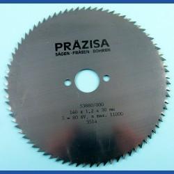 PRÄZISA Jännsch Chrom-Vanadium Kreissägeblatt Type B Feinzahn – Ø 140 mm, Bohrung 20 mm