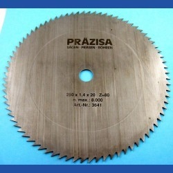 PRÄZISA Jännsch Chrom-Vanadium Kreissägeblatt Type B Feinzahn – Ø 250 mm, Bohrung 20 mm