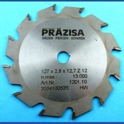 PRÄZISA Jännsch Hartmetall-Kreissägeblatt Type F Flachzahn grob – Ø 127 mm (5''), Bohrung 12,7 mm (1/2'')