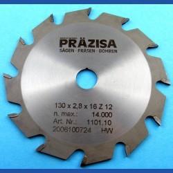 PRÄZISA Jännsch Hartmetall-Kreissägeblatt Type F Flachzahn grob – Ø 130 mm, Bohrung 16 mm