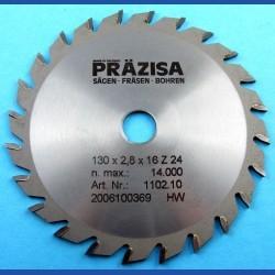 PRÄZISA Jännsch Hartmetall-Kreissägeblatt Type W Wechselzahn mittel – Ø 130 mm, Bohrung 16 mm