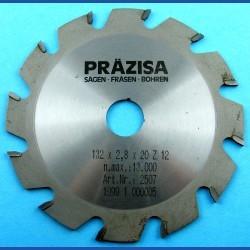 PRÄZISA Jännsch Hartmetall-Kreissägeblatt Type F Flachzahn grob – Ø 132 mm, Bohrung 20 mm
