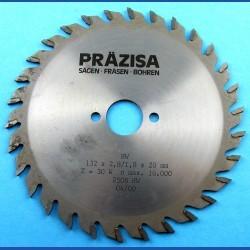 PRÄZISA Jännsch Hartmetall-Kreissägeblatt Type W Wechselzahn mittel – Ø 132 mm, Bohrung 20 mm