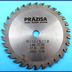 PRÄZISA Jännsch Hartmetall-Kreissägeblatt Type W Wechselzahn mittel – Ø 140 mm, Bohrung 12,7 mm (1/2'')