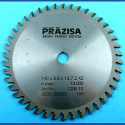 PRÄZISA Jännsch Hartmetall-Kreissägeblatt Type WH Wechselzahn fein – Ø 140 mm, Bohrung 12,7 mm (1/2'')